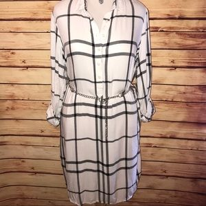 Ivory with Black Striped Plaid Shirt Dress in Tall